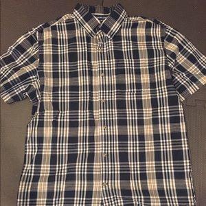 Old navy plaid short sleeve button down euc Lg